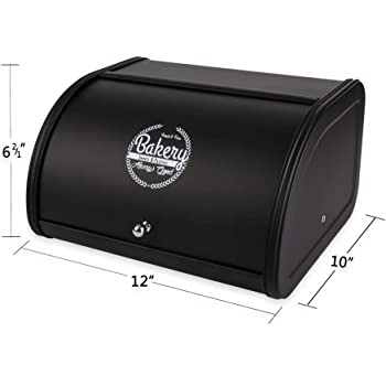 X458 Black Metal Bread Box/Bin/kitchen Storage Containers with Roll Top Lid (Black)