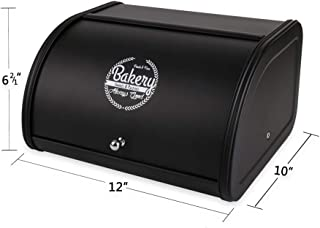 Hot Sales X458 Metal Bread Box/Bin/kitchen Storage Containers with Roll Top Lid (Black)