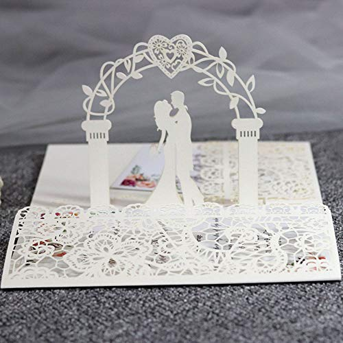 3D Pop-Up Greeting Card Wedding Invitations, 10PCS Romantic Lace Floral Design Invites, Wedding Cards Congratulations Cards with Envelopes for Wedding & Engagement Parties, Anniversary (ivory color)