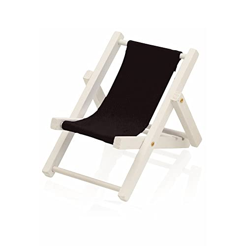 eBuyGB Wood and Canvas Beach Deck Chair Desk Stand for iPhone/Samsung Smartphone, Black