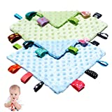 Baby Tag Security Blanket, Soft Touch Plush Blanket with Colorful Tags, Infant Appease Blanket with Ribbon Tag, 10 × 10 inches Square Blanket - Blue&Green