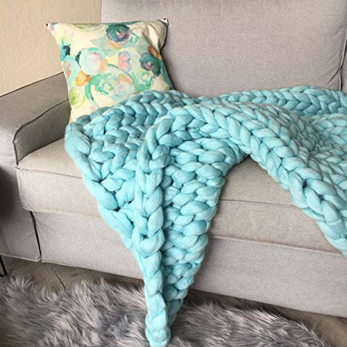 Chunky Arm Knit Blanket - Made from 100% Merino Wool Giant Yarn - Sizes Twin/Queen/King/Custom - Choose your Color and Size - Christmas gift idea