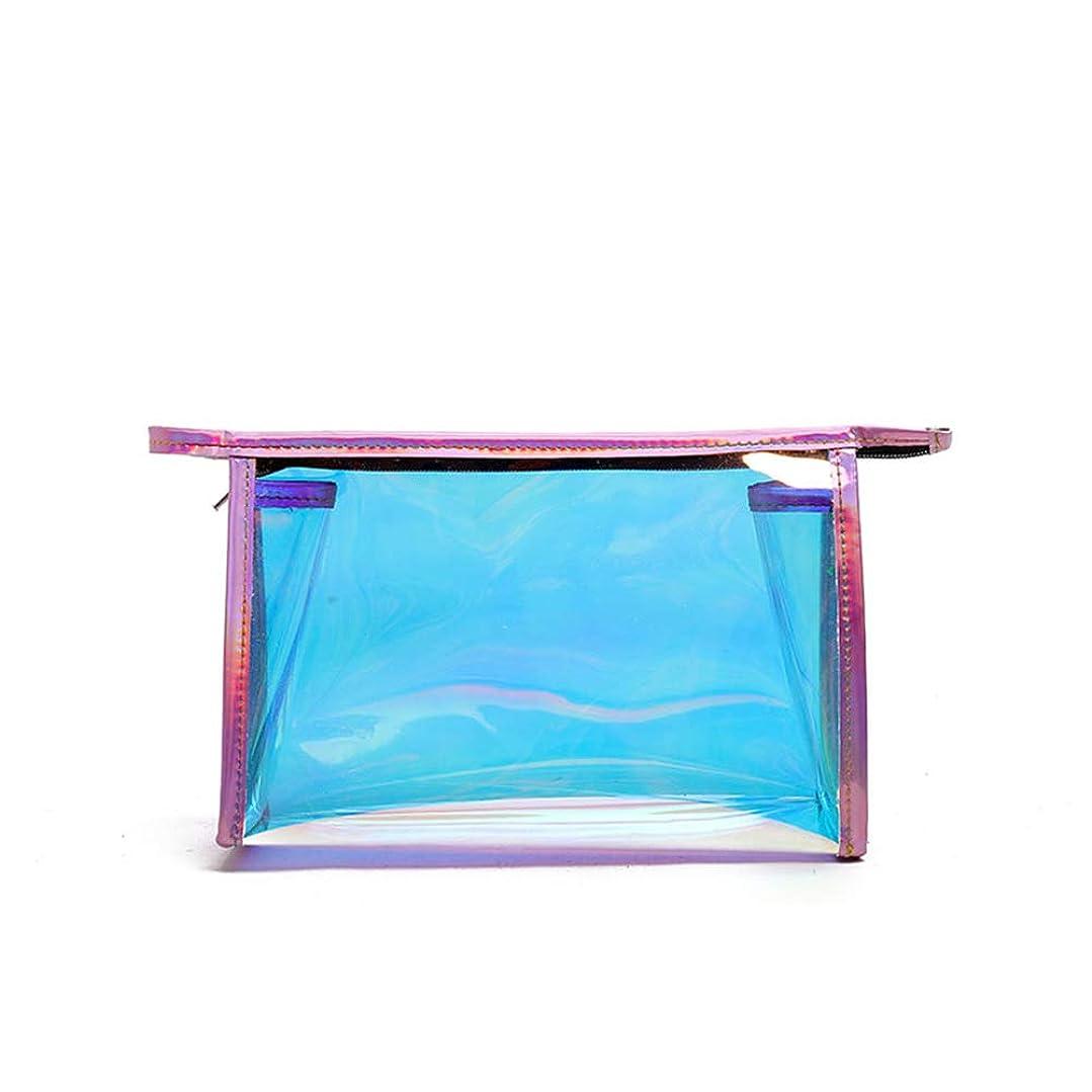 液化するルーフ投資するLE BI YOU メイクポーチ 化粧バッグ オーロラカラー レーザー 透明バッグ 防水 収納携帯用 おしゃれ コスメポーチ たっぷり収納 旅行 便利 超軽量 (大きい, ピンク)