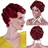CTRLALT Red Finger Wave Wig Short Curly Wig Synthetic Full Wig for Black Women
