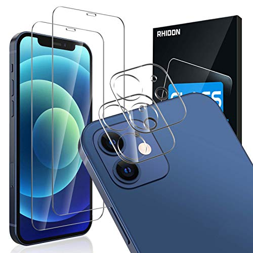 """[4Pack] 2 Pack Screen Protector Tempered Glass Compatible with iPhone 12 5G (6.1"""")+2 Pack Camera Lens Protector Tempered Glass for iPhone 12 6.1, HD Clear Anti-Scratch Bubble Free Case Friendly"""