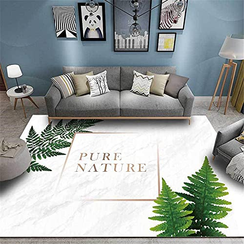 Alfombras Decoracion Cuarto Textura de mármol Minimalista Blanco y decoración de patrón de Hoja Verde alfombras de Dormitorio Sofa niños Infantil alfombras 60*120cm