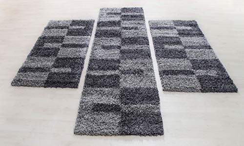HomebyHome, set di biancheria da letto, tappeto Shaggy per camera da letto, a pelo lungo, 3 pezzi, colore: grigio, set di letti: 2 x 60 x 110 + 1 x 100 x 200 cm