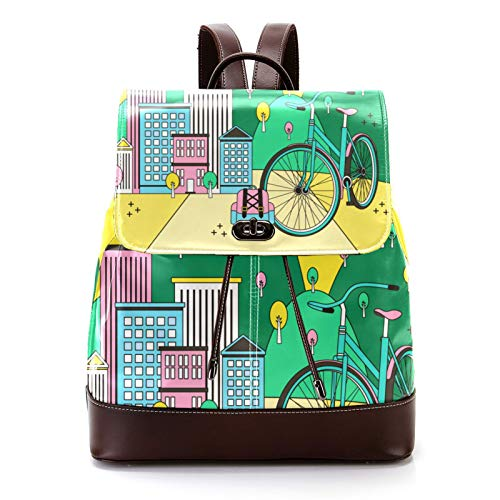 KEAKIA Women's Leather Backpack Schoolbag Shoulder Bag Casual Daypack Style Flap Backpacks for Girls Cartoon Eco City Illustration