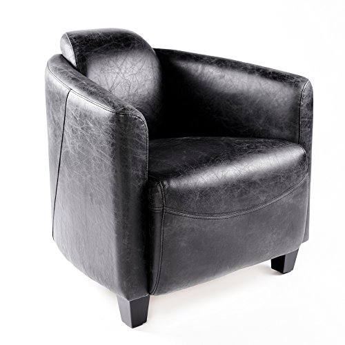 Phoenixarts Vintage Ledersessel Schwarz Echtleder Sessel Design Lounge Clubsessel Sofa 643
