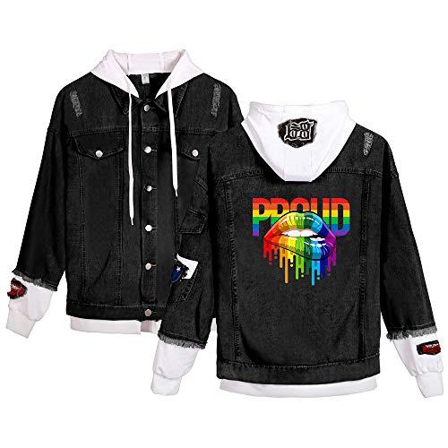 SISAY LGBT Chaqueta Vaquera con Capucha Unisex Abrigo Jeans Denim A18320NZ01