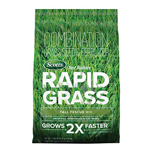 Scotts Turf Builder Rapid Grass Tall Fescue Mix: up to 5,280 sq. ft., Combination Seed & Fertilizer,...