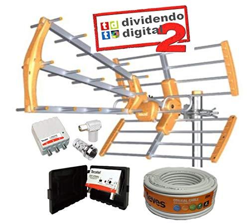 Kit Antena TECATEL BKM-15 Naranja + Rollo Cable TELEVES DE 20MT + Conjunto Amplificador Y Fuente TECATEL AMP-LTE304L (700Mhz, 5G)