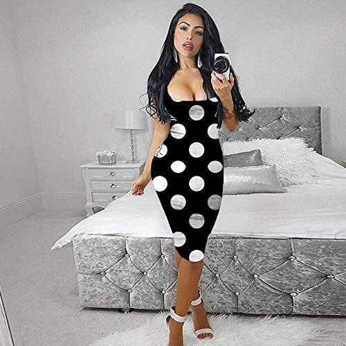 VEMOW Vestido Verano Mujer Noche Falda Fuera Cintura Alta Boda Cóctel Noche Dress, Moda Leopardo Vestido de Atractivo del Chaleco Apretado Novia Sin Mangas Largo Sirena Corte Imperio(E Negro,S)