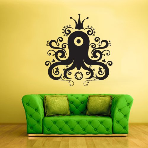 STICKERSFORLIFE Large Big Wall Decal Vinyl Sticker Decals Octopus Sprut Tentacles Kraken Crown King...