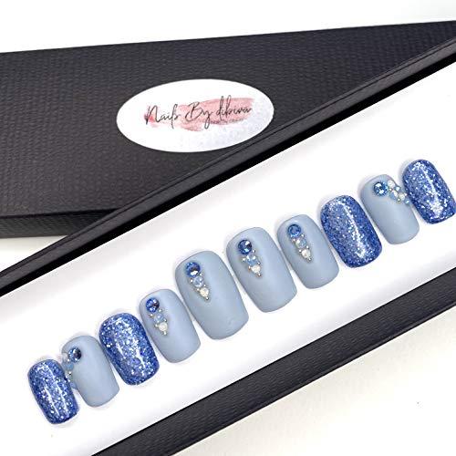 10 Press On Nails Jeansblau Glitzer zum Selber Aufkleben Handmade