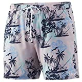 HUK Men's Volley 5.5' Elastic Waist Quick-Dry Swim Shorts, Paradise Pass-Lavender Blue, Medium