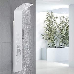 Columna de ducha,Hidromasaje,Panel de ducha, acero inoxidable con ducha de mano (blanco)