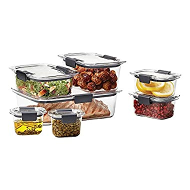Rubbermaid Brilliance Food Storage Container, Large 14-Piece Set, Leak-Proof, Clear