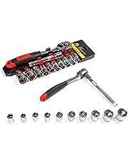 NUZAMAS 1/4 tum kombination drivuttag set och hylsnyckelsats 12 delar 1/4 tum. Drive 12-punkts hushåll handverktygssats, bilreparationsverktygssats