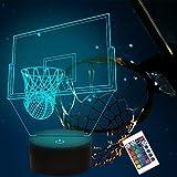 CooPark Lampada da basket 3D Illusione di luce notturna Accanto alla lampada da tavolo, 16 colori Auto Change Touch Decorazione del desktop con telecomando per i fan