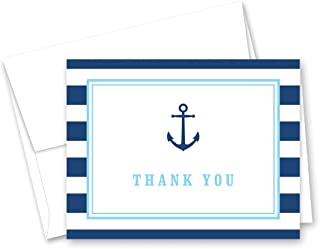 50 Cnt Navy Stripes Blue Border Nautical Boy Baby Shower Thank You Cards