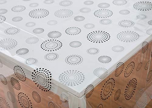 Vinylla - Mantel de vinilo transparente, fácil de limpiar, con estampado de círculos de fuegos artificiales, vinilo, Round(160 cm)