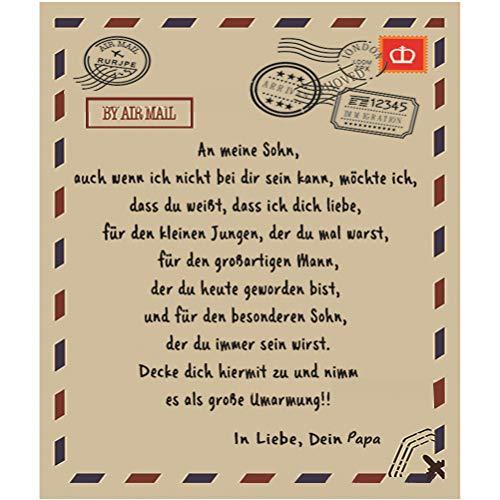 Mail Blanket, German Letters Blanket Manta de franela supersuave Papa an mi hijo y mi hija (150 x 200)