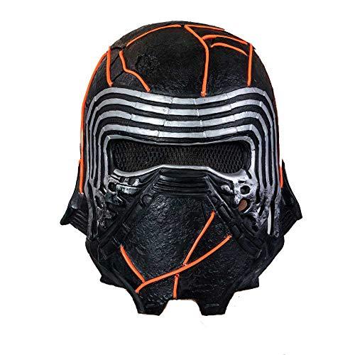 BIRDEU Kylo Ren Maske SW9 The Rise of Skywalker Film Voller Kopf Latex Helm für Herren Erwachsene Halloween Cosplay Kostüm Replik 2019 (Mask with LED, one Size)