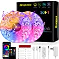 LED Strip Lights, Hiromeco 50Ft Led Lights Strip Music Sync Color Changing App Controlled 5050 RGB Smart Rope Lights Built-in Mic, Bluetooth Led Strip Lights for Bedroom (APP+Remote+Mic+3 Button)