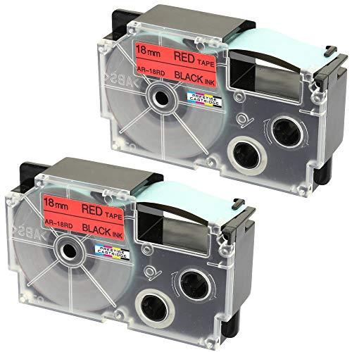 2 Kassetten XR-18RD XR-18RD1 schwarz auf rot 18mm x 8m Schriftband kompatibel für CasioKL-60 KL-100 KL-120 KL-200 KL-300 KL-750 KL-780 KL-820 KL-2000 KL-7000 KL-7200 KL-8100 Beschriftungsgerät