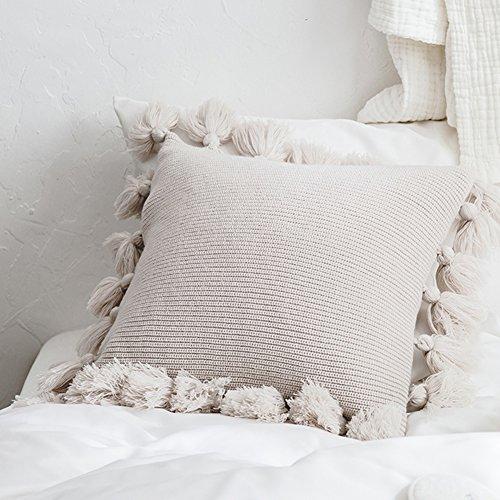 quadratische Kissen Abdeckung Throw Kissenbezug Baumwolle gestrickte Kissenbezug mit Pom Poms Quaste weich handgemachte dekorative für Couch Sofa Büro Lounge Wohnkultur, beige