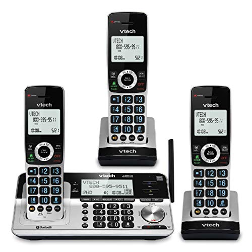 """VTech VS113-3 Extended Range 3 Handset Cordless Phone for Home with Call Blocking, Connect to Cell Bluetooth, 2"""" Backlit Screen, Big Buttons, and Answering System, Silver & Black"""