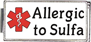 Allergic To Sulfa White Medical Alert Italian Charm Superlink Bracelet Jewelry Link