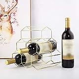 Gotian - Portabottiglie in ferro battuto, stile nordico, per 6 bottiglie, supporto da cucina, colore: oro