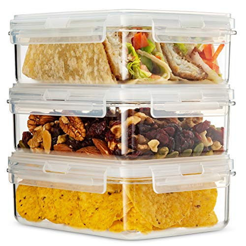 Komax Hikips 3-Pack Bento Lunch Box   27.5-oz Leakproof Lunch Containers   Meal Prep Containers   Microwavable Food Containers   Freezer & Dishwasher Safe   BPA-Free, Clear Tritan
