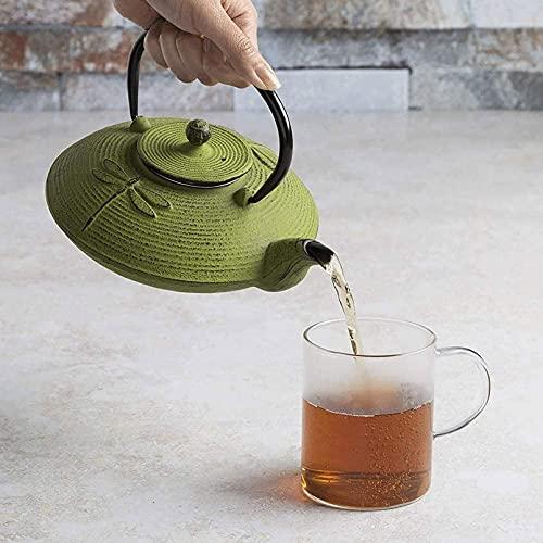 NBXLHAO Tetera cerámica Verde libélula Hierro Fundido Tetera de Hierro de Acero Inoxidable para té Suelto colado, construcción Duradera, Interior esmaltado, 800 ml teteras de té,Verde