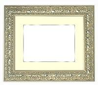 写真用額縁 246/シルバー A2(594×420mm) ガラス マット付(銀色細縁付き) マット色:黒