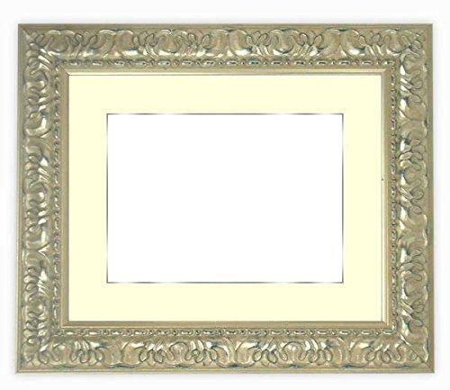 写真用額縁 246/シルバー写真四つ切(305×254mm) ガラス マット付(銀色細縁付き) マット色:黒