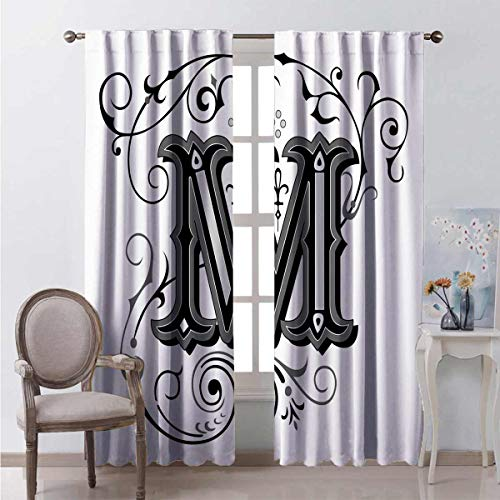 Toopeek Bedroom Rod Pocket Blackout Curtains Eastern Abstract M Living Room Color Curtains Set of Two Panels for Curtains W52 x L84 Inch
