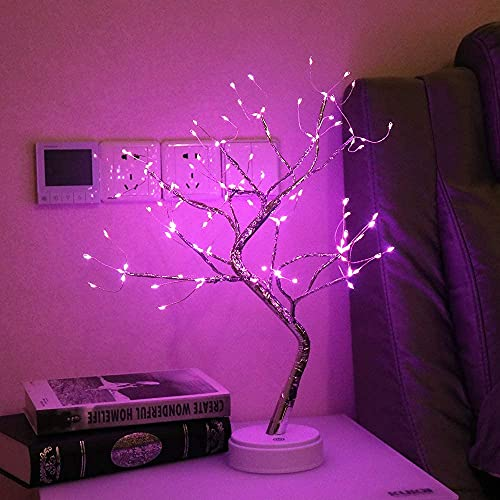 LSWGG Lámpara Mesa Cobre LED Batería Lámpara Árbol Decorativa 19,69 Pulgadas con 108 Lámpara LED Blanca Cálida Dormitorio Sala Estar Decoración del Hogar,Pink coppe