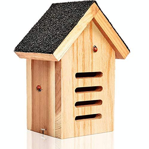 deinTierhaus | Hotel de mariquitas hecho de madera (cedro rojo) sin tratarǀAlbergue Sitio de hibernación Dormidero para mariquitas 17x11x23 cmǀCaja de escarabajoscon techo de asfalto