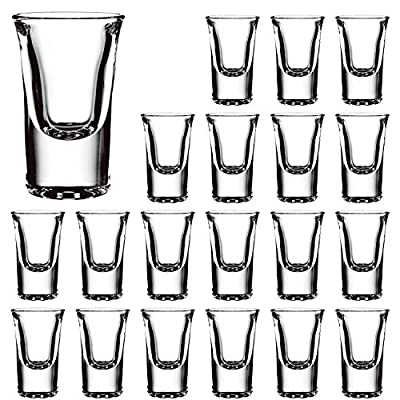0.8 Ounce Heavy Base Shot Glass Set,QAPPDA Whisky Shot Glasses 0.8 oz,Mini Glass Cups For liqueur,Double Side Cordial Glasses,Tequila Cups Small Glass Shot Cups Set Of 16 KTY1504…