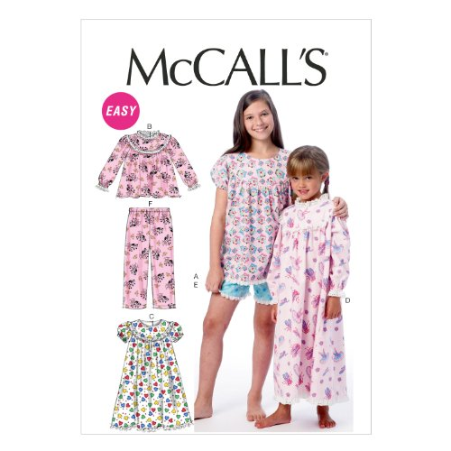 McCall Pattern Company M6831 Children's/Girls' Tops, Gowns, Short and Pants Sewing Template, Size CHJ