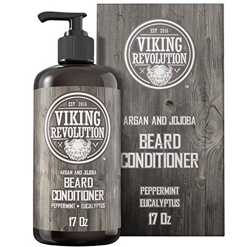 Viking Revolution Best Deal Beard Conditioner w/Argan & Jojoba Oils - Softens & Strengthens - Natural Peppermint and Eucalyptus Scent - Beard Conditioner w/Beard Oil (17oz Conditioner)