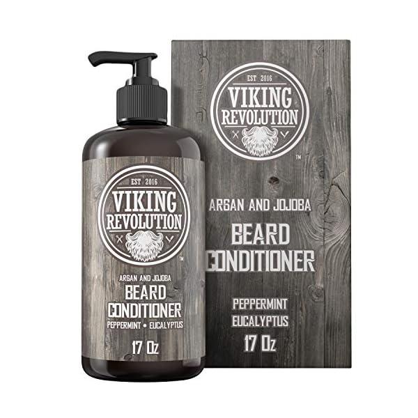 Beard Conditioner w/Argan & Jojoba Oils - Softens & Strengthens - Natural Peppermint and Eucalyptus Scent- Beard… 1