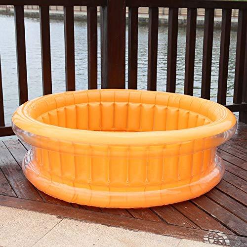 SHARESUN Familie aufblasbaren Swimming-Pool, 130 * 45 cm Full-Size Aufblasbarer Lounge Pool Geeignet für 2-4 Aufblasbare Pools für Kinder,Orange
