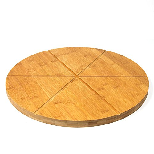 """Woodluv Bamboo Pizza Cake Serving Cutting Platter Board, 15.7"""" (40cm) 6 Sections Wooden Snack Canape Platter"""