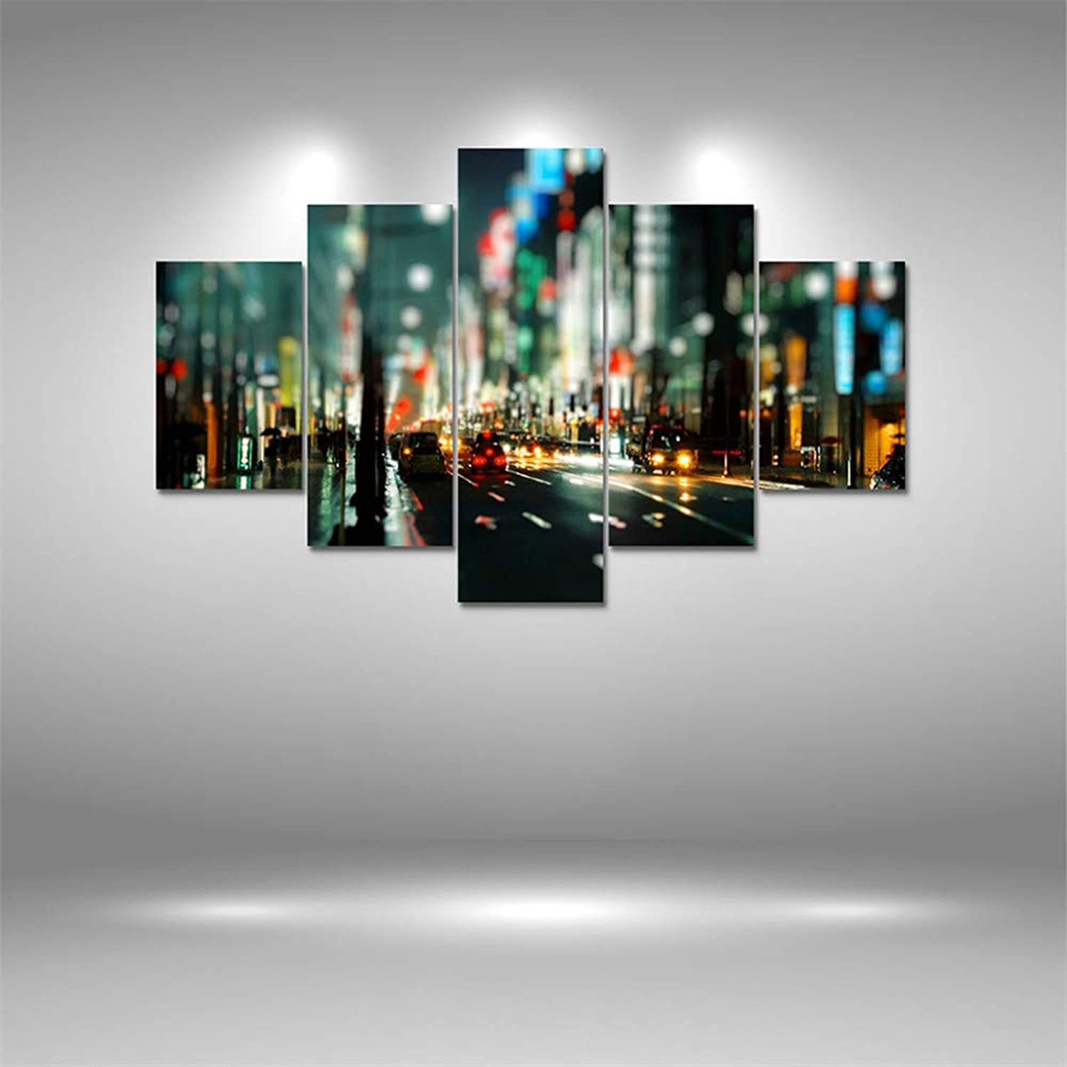 Loiazh  Image Printed On Non Woven Canvas  Wall Art Print Picture  Photo  5 Pieces  Frameless  Night Street 55x22 45x20x2 35x20x2(cm)