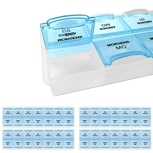 4 Stück Pillenboxen 7-Tage Pillenbox je 2 Fächer für Wochendosierung Aufbewahrung für 7 Tage Pillendose Tablettenbox Medikamentenbox Pillen Box 2 Fächer pro Tag Medikamentendosierer Aufbewahrung