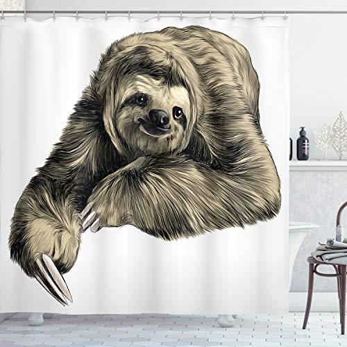 ABAKUHAUS Faultier Duschvorhang, Tropisches Tierlächeln, mit 12 Ringe Set Wasserdicht Stielvoll Modern Farbfest und Schimmel Resistent, 175x200 cm, Schwarz Elfenbein